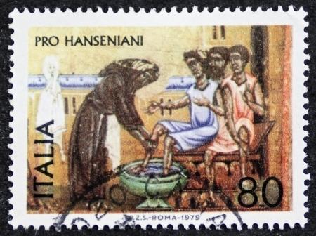 lepra: Italia alrededor de 1979: un sello impreso en Italia promueve la solidaridad con los leprosos y cuidar de ellos. Italia, alrededor del año 1979 Editorial