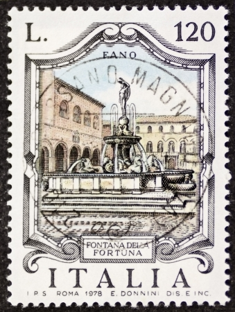 fontana: ITALY � CIRCA 1979: a stamp printed in Italy shows Fontana della Fortuna (Luck Fountain), built in the 16th century in Fano. Italy, circa 1979 Editorial
