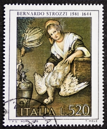 ITALY – CIRCA 1978: a stamp printed in Italy celebrates Bernardo Strozzi (1581 - 1644), famous Italian baroque painter, showing detail of his painting La Cuoca (The Cook). Italy, circa 1978 Stock Photo - 21844302