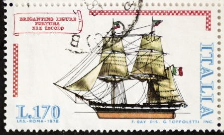 brig ship: ITALY � CIRCA 1978: a stamp printed in Italy shows image of  Brigantino Ligure Fortuna (Luck Ligurian Brigantine). Italy, circa 1978