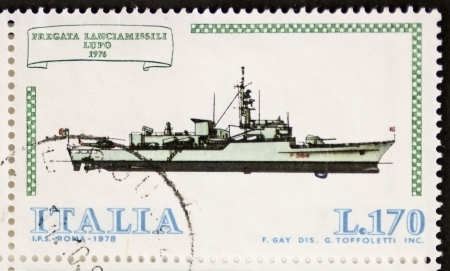 gunnery: ITALY – CIRCA 1978: a stamp printed in Italy shows image of  Rocket Launcher Frigate Lupo (Italian Navy). Italy, circa 1978