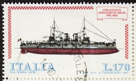 gunnery: ITALY CIRCA 1978: a stamp printed in Italy shows image of  Battleship Benedetto Brin (Italian Royal Navy). Italy, circa 1978 Editorial