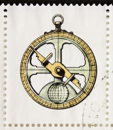 orienteering: ITALY CIRCA 1978: a stamp printed in Italy shows illustration of  an old compass. Italy, circa 1978 Editorial