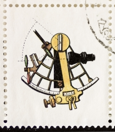 navigational: ITALY CIRCA 1978: a stamp printed in Italy shows illustration of  an old sextant. Italy, circa 1978