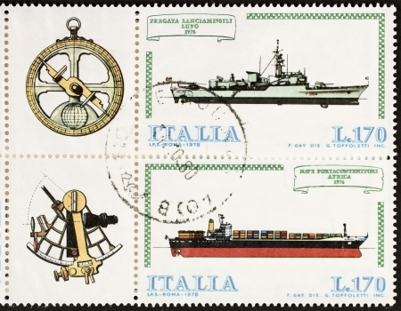 ITALY CIRCA 1978: a block of two stamps printed in Italy shows illustrations of  container ship, frigate and old sextant and compass. Italy, circa 1978