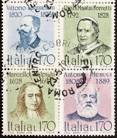 ITALY CIRCA 1978: a block of four stamps printed in Italy shows portraits of  famous Italians: King Vittorio Emanuele, Pope Pio IX, Marcello Malpighi and Antonio Meucci. Italy, circa 1978 Stock Photo - 22059074