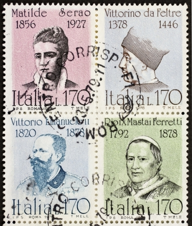 ITALY CIRCA 1978: a block of four stamps printed in Italy shows portraits of  famous Italians: Matilde Serao, Vittorino da Feltre, Vittorio Emanuele, Pope Pio IX. Italy, circa 1978 Stock Photo - 22059075