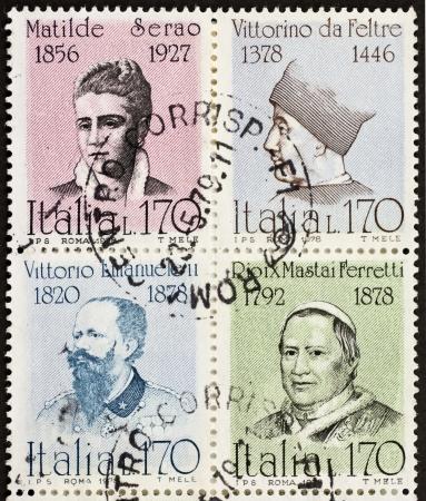 ix portrait: ITALY CIRCA 1978: a block of four stamps printed in Italy shows portraits of  famous Italians: Matilde Serao, Vittorino da Feltre, Vittorio Emanuele, Pope Pio IX. Italy, circa 1978 Editorial