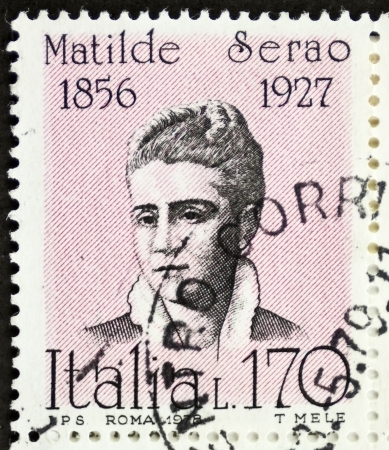 novelist: ITALY - CIRCA 1978: a stamp printed in Italy shows  portrait of Matilde Serao (1856 - 1927), Greek-born Italian novelist and journalist. Italy, circa 1978