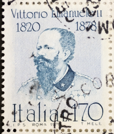 philatelic: ITALY - CIRCA 1978: a stamp printed in Italy shows  portrait of Vittorio Emanuele II (1820 1878) King of Italy. Italy, circa 1978 Editorial