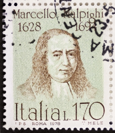 ITALY - CIRCA 1978: a stamp printed in Italy shows  portrait of  Marcello Malpigh (1628 1694), Italian doctor, anatomist and physiologist.  Italy, circa 1978 Stock Photo - 22059078