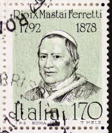 ix: ITALY - CIRCA 1978: a stamp printed in Italy shows  portrait of  Giovanni Maria Mastai Ferretti (1792 1878), Pope Pius IX. Italy, circa 1978 Editorial