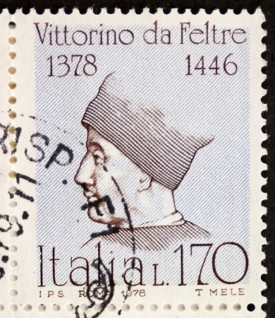 humanistic: ITALY - CIRCA 1978: a stamp printed in Italy shows  portrait of  Vittorino da Feltre (1378 1446), Italian humanist and teacher. Italy, circa 1978