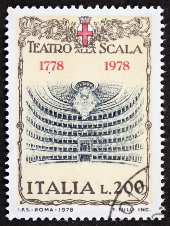 ITALY CIRCA 1978: a stamp printed in Italy shows illustration of  La Scala theatre, famous opera house in Milan. Italy, circa 1978 Stock Photo - 22059089