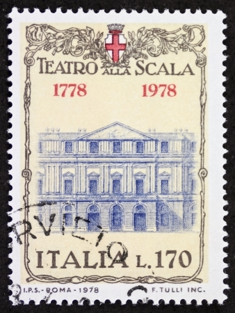 scala: ITALY CIRCA 1978: a stamp printed in Italy shows illustration of  La Scala theatre facade, famous opera house in Milan. Italy, circa 1978 Editorial