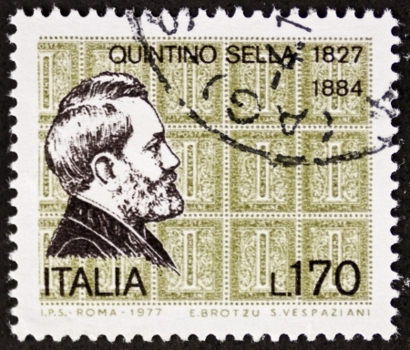 statesman: ITALY - CIRCA 1977: a stamp printed in Italy shows  portrait of Quintino Sella (1827 1884) Italian statesman. Italy, circa 1977