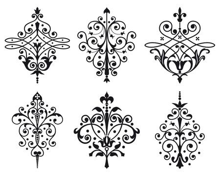 grecas: Seis antiguas decoraciones de estilo Vectores
