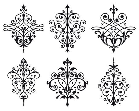 Six old style decorations Vector