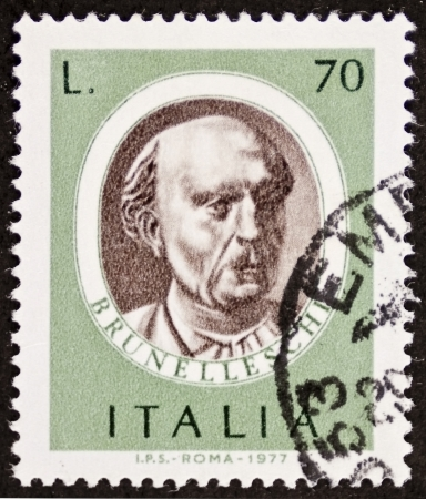 ITALY CIRCA 1977: a stamp printed in Italy shows image of Filippo Brunelleschi (1377 - 1446), famous Italian renaissance architect. Italy, circa 1977 Stock Photo - 22626524