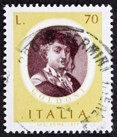 ITALY CIRCA 1977: a stamp printed in Italy shows image of Carlo Goldoni (1707 - 1793), famous Italian playwriter. Italy, circa 1977 Stock Photo - 22626525