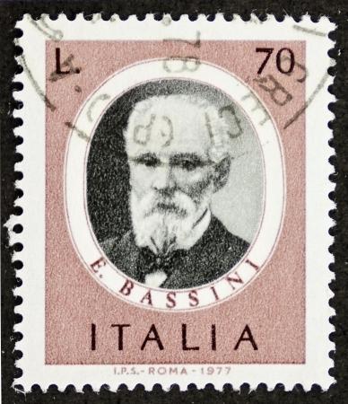philatelic: ITALY CIRCA 1977: a stamp printed in Italy shows image of Edoardo Bassini (1844 - 1924), famous Italian surgeon. Italy, circa 1977
