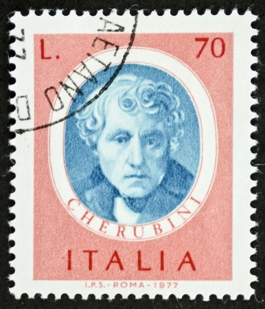 ITALY CIRCA 1977: a stamp printed in Italy shows image of Luigi Cherubini (1760 - 1842), famous Italian composer. Italy, circa 1977 Stock Photo - 22626527