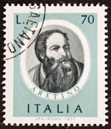 satirist: ITALY CIRCA 1977: a stamp printed in Italy shows image of Pietro Aretino (1760 - 1842), famous Italian composer. Italy, circa 1977 Editorial