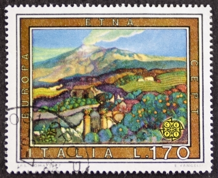 etna: ITALY CIRCA 1977: a stamp printed in Italy shows colorful image of Etna Volcano and surrounding countryside in Sicily. Italy, circa 1977