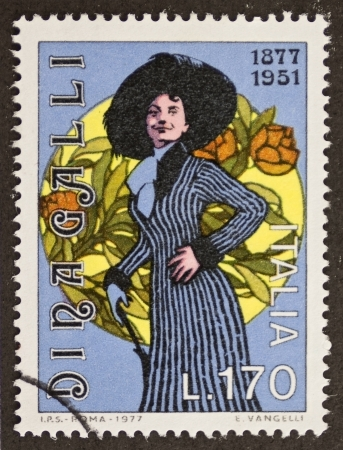 ITALY - CIRCA 1977: a stamp printed in Italy celebrates the first centenary of the birth of Dina Galli, famous Italian actress. Italy, circa 1977 Stock Photo - 22626539