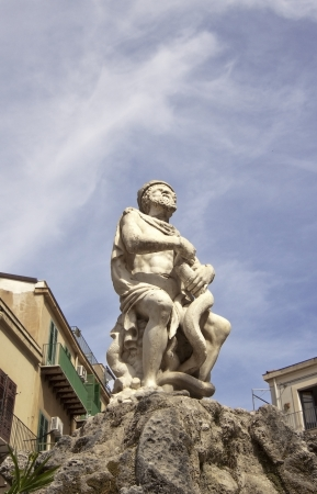 allegoric: Palermo Genius (allegoric personification, symbol and laic patron of the city of Palermo) in the fountain with the same name Stock Photo