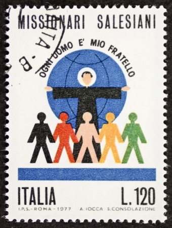 salesian: ITALY CIRCA 1977: a stamp printed in Italy celebrates the Roman Catholic religiuos institute of the salesians of Don Bosco. Italy, circa 1977