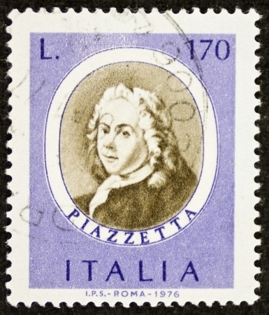 ITALY CIRCA 1976: a stamp printed in Italy celebrates Giovanni Battista Piazzetta (1683 - 1754) Italian Venetian Rococo painter. Italy, circa 1976 Stock Photo - 22626560