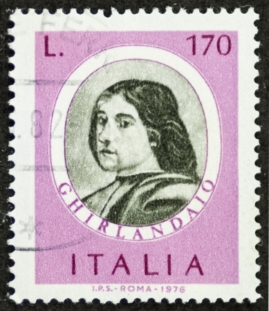 ITALY CIRCA 1976: a stamp printed in Italy shows image of  Domenico Ghirlandaio (1449 - 1494) Italian renaissance painter in Florence. Italy, circa 1976 Stock Photo - 22626561