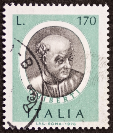 ITALY CIRCA 1976: a stamp printed in Italy shows image of  Lorenzo Ghiberti (1378 - 1455) Italian sculptor, goldsmith and architect in Florence. Italy, circa 1976 Stock Photo - 22626562