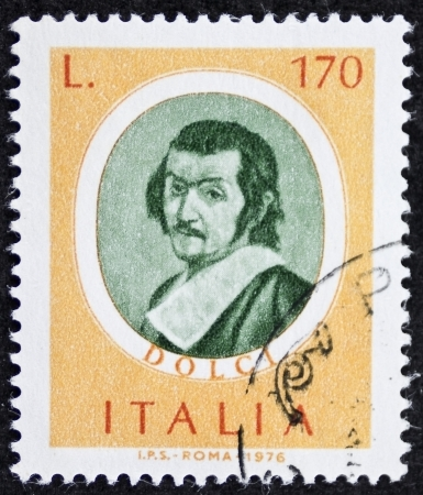 ITALY CIRCA 1976: a stamp printed in Italy shows image of  Carlo Dolci (1616 - 1686) Italian baroque painter in Florence. Italy, circa 1976 Stock Photo - 22626563