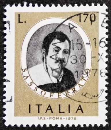 ITALY CIRCA 1976: a stamp printed in Italy shows image of  Giovanni Battista Salvi (1609 - 1685), better known as Sassoferrato Italian baroque painter. Italy, circa 1976 Stock Photo - 22626564