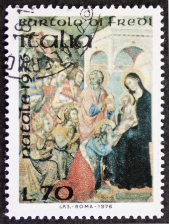 ITALY CIRCA 1976: a stamp printed in Italy celebrates Christmas showing a nativity scene by Bartolo Di Fredi (ca. 1330 - 1410),Italian painter of the Sienese School. Italy, circa 1976