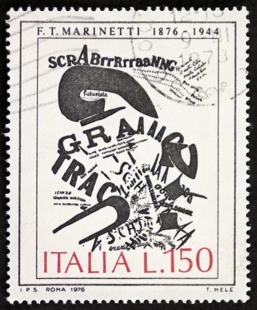 ITALY CIRCA 1976: a stamp printed in Italy celebrates first centenary of the birth of Filippo Tommaso Marinetti (1876 - 1944), Italian poet founder of the futurist movement. Italy, circa 1976 Stock Photo - 22626581
