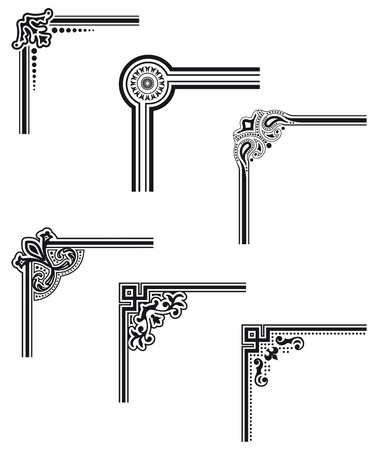 bordure de page: coins de cadre de vecteur d�coratifs noirs