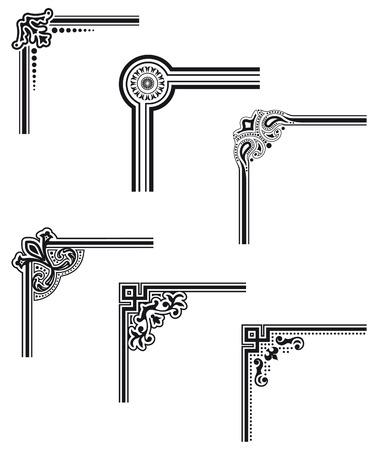 stile liberty: neri decorativi vettore angoli della cornice