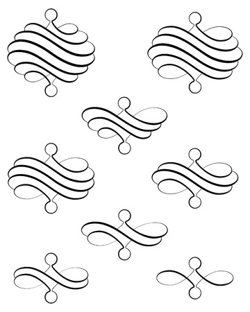 helical: Black helical swirl decoration eight variations