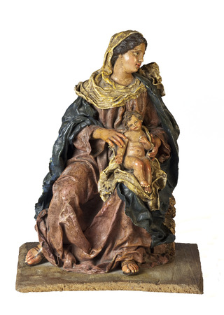 papiermache: Mary and Jesus papier-mache statuette isolated on white