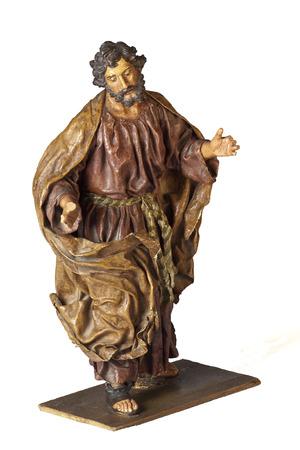 papiermache: Saint Joseph papier-mache statuette isolated on white