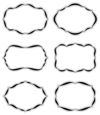 art nouveau design: Set of six blank vintage labels