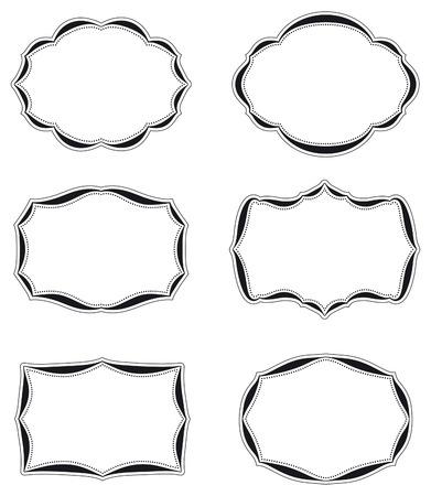 Set of six blank vintage labels