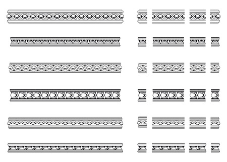 molding: Six decorative bands and modular elements to create others in any dimension Stock Photo