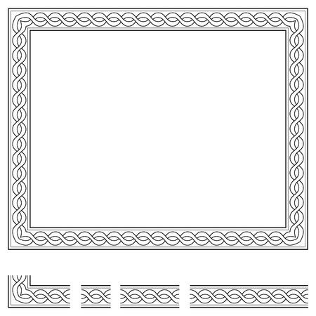 grecas: Marco del vector y elementos modulares para crear otros en cualquier tamaño