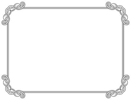 fretwork: Old style black decorative frame Illustration
