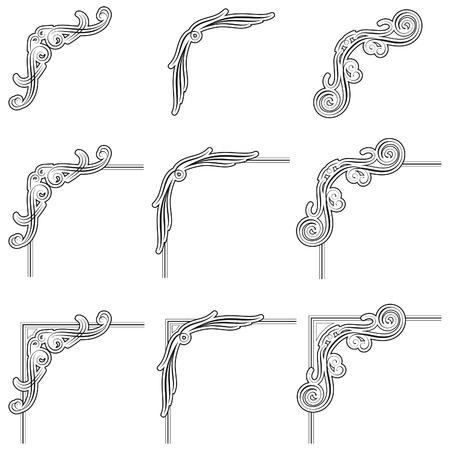 stile liberty: nove neri angoli cornice decorativa Archivio Fotografico