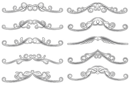 set of ten swirled decorations Vector